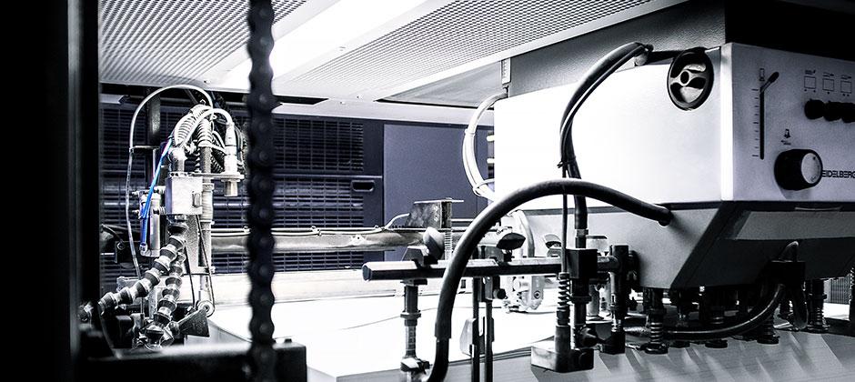 Detail Druckmaschine Bogenaufnahme