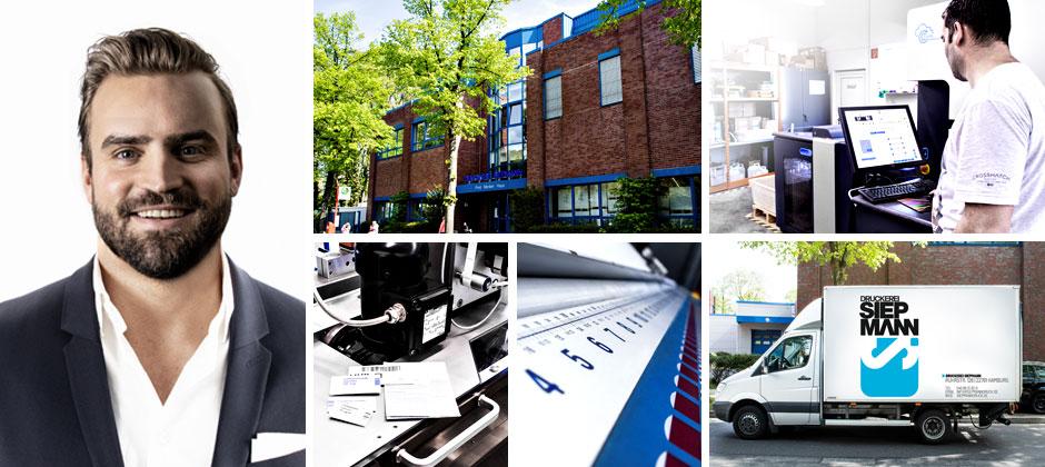 Collage mit unterschiedlichen Ansichten der Druckerei