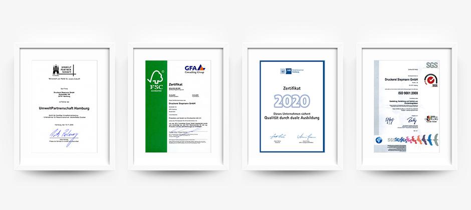 Zertifikate der Druckerei